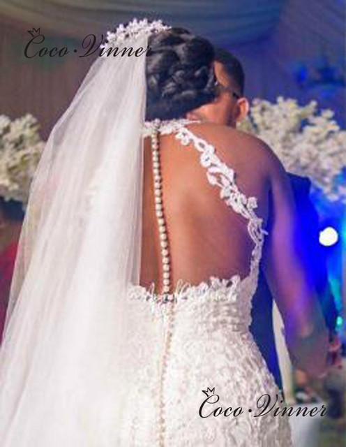 Halter Neck Sexy Illusion Back Lace Vintage Mermaid Wedding Dress 2021 Africa New Lace Appliques Custom Made Bride Dress W0802 2