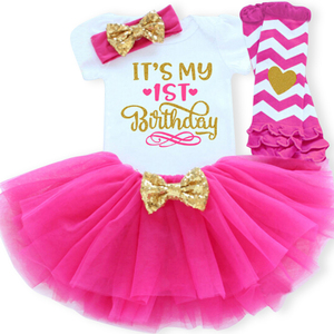 Infant Baby 1 2 years Birthday Dresses for Girls 4pcs Christening Dress 1st 2nd Birthday Party Clothing Outfits vestido infantil(China)
