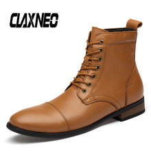 Buy CLAXNEO Man Boots Pointed Toe Leather Shoes Male High Boot Genuine Leather Handmade Walking Footwear Men's Shoe Big Size directly from merchant!