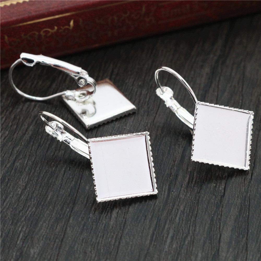 12mm 10pcs Bright Silver Plated Square Style French Lever Back Earrings Blank/Base,Fit 12mm Glass Cabochons (L2-33)