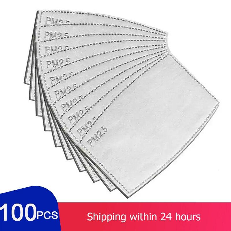 100pcs  Washable Reusable Anti Haze Mouth Anti Dust Filter Paper Face Mask PM2.5