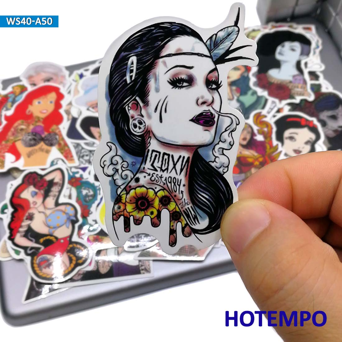 50pcs Sexy Beauty Tattoo Girls Princess Style Stickers For DIY Mobile Phone Laptop Luggage Guitar Skateboard Bike Anime Stickers