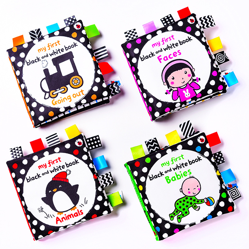 Baby Cloth Book Early Education Teaching Black White Cloth Book Toddler Kids Sound Paper Visual Cloth Book Interaction Games Toy