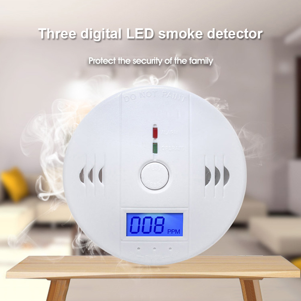 LCD CO Carbon Monoxide Smoke Detector Alarm Poisoning Gas Warning Sensor Monitor Device SP99