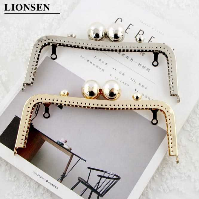 Lionsen lovely 20CM Lotus flower head Kiss Clasp Silver ,golden tone DIY Handmade square Metal purse frame handle bag
