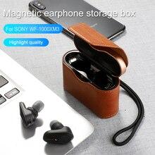 цена Leather Case For SONY WF-1000XM3 Earphone Accessories Charging Box For SONY WF 1000 XM3 High Quality Cowhide Earphone Cover Case онлайн в 2017 году