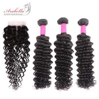 ブラジル閉鎖 Arabella でバンドルナチュラルカラーレミーヘアーエクステンション人間の髪のバンドル 4*4 レース閉鎖 - DISCOUNT ITEM  49% OFF ヘアエクステンション & ウィッグ