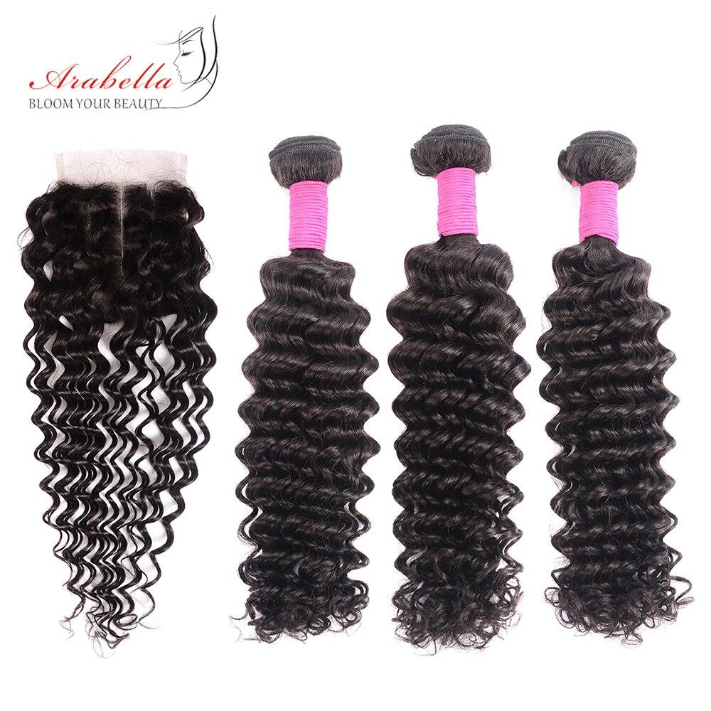 Brazilian Deep Wave Bundles With Closure Arabella Natural Color Remy Hair Extensions Human Hair Bundles With 4*4 Lace Closure