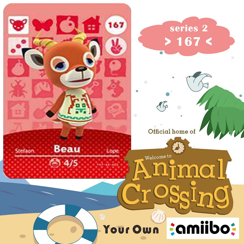 167 Animal Crossing Amiibo Card Beau Amiibo Card Animal Crossing Series 2 Beau Nfc Card Work For Ns Games Fast Shipping