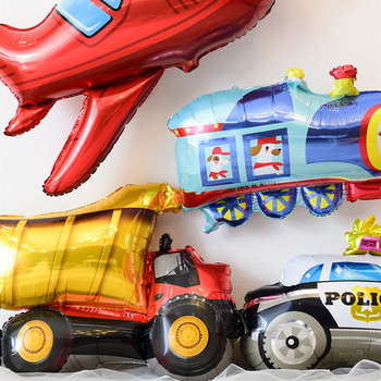 1pc Baby Boys Engineering Car Foil Balloon Children Kids 1 Years Old Automobile Theme Birthday Party Background Wall Decorations image