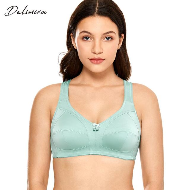 DELIMIRA Womens Non Padded Wire Free Comfort Lift Full Coverage Support Plus Size Bra