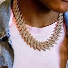 Gros lourd 30mm à pointes cubaines chaîne hommes collier Micro pavé Triple rangée CZ cubique zircone Hip Hop glacé bijoux Bling