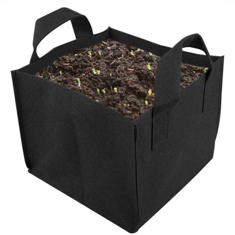 Non-woven Plant Grow Bag Portable Plant Container Outdoor Garden Vegetable Planting Bags Square Flower Grow Bag  NEW Pot #3