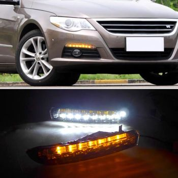 цена на 2PCS For VWVolkswagen Passat CC 2009 2010 2011 2012 LED DRL Daytime Running Lights with Turnnig Yellow signal Lights