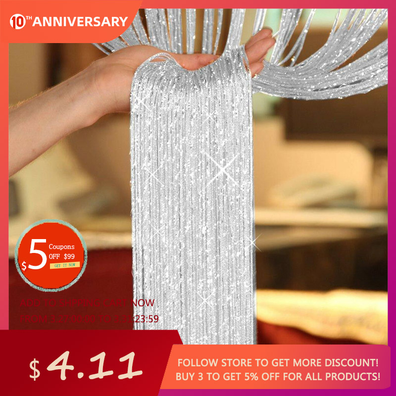 Curtains-Thread Salon Sheer-Panel Tassel-Bead Glitter Cortinas Window Door 1--2m title=
