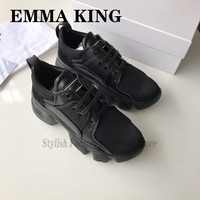 2020 Designer Lycra Leather Woman Sneakers Round Toe Mesh Breathable Trainers Lace up Natural leather Women's Vulcanize Shoes