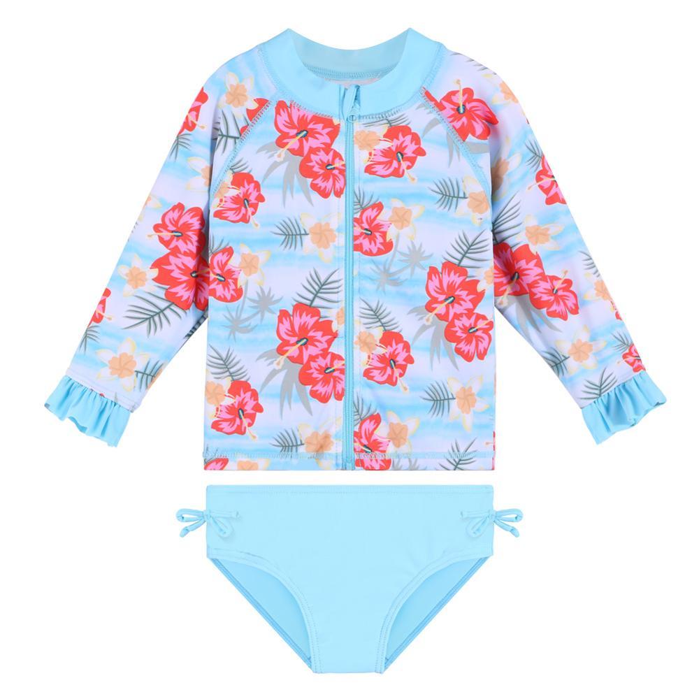 BAOHULU Floral Baby Swimsuit Ruffle Sleeve Girl Swimsuit Kids UPF 50+ Swimming Suit 2pcs Set Toddler Girls Swimwear Beachwear