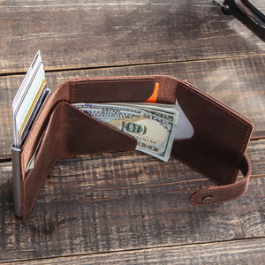 Image 5 - CONTACTS Crazy Horse Leather Card Holder Wallet Men Automatic Pop Up ID Card Case Male Coin Purse Aluminium Box RFID Blocking