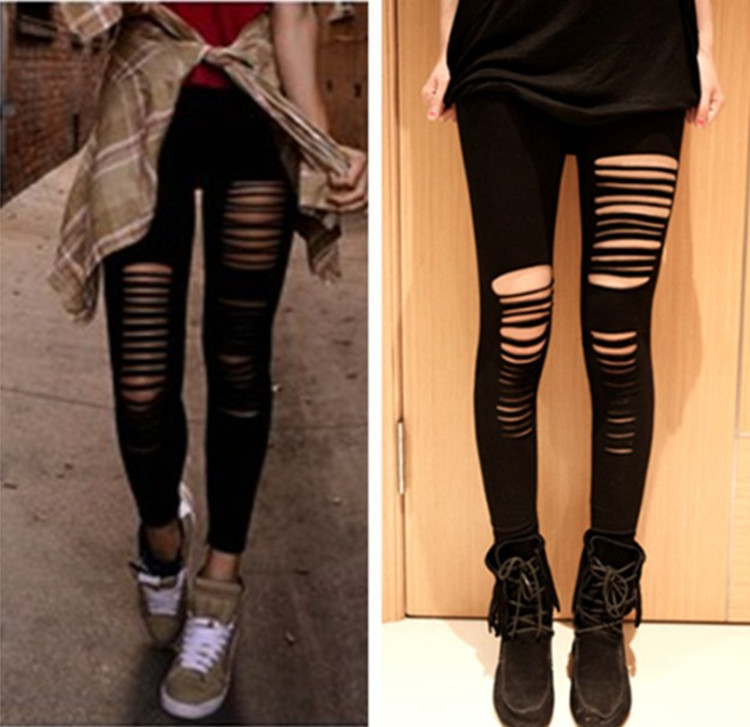 Ladies Womens leopard print lace insert laser cut ripped leggings jeggings new