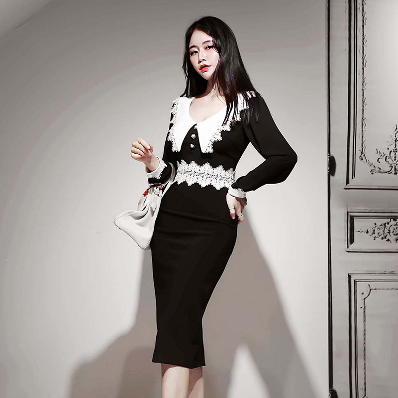 Fashion Women Elegant Lace Patchwork Sexy Formal Dress New Arrival Casual Work Style Sexy High Quality V-neck Pencil Dress