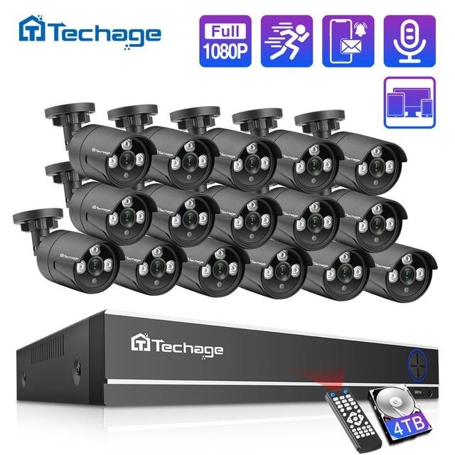 Techage 16CH 1080N DVR CCTV Security System AHD DVR Kit 2MP 1080P IR Outdoor IP66 Waterproof Camera P2P Video Surveillance Set