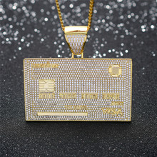 Iced Out Credit VISA Card Pendant Necklace Micro Pave AAA Cu