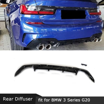 3 Series PP parachoques trasero difusor de labio Spoiler para BMW G20 G28 M Sport 2019 2020 de estilo MP difusor cuadrado tipo Punta de escape