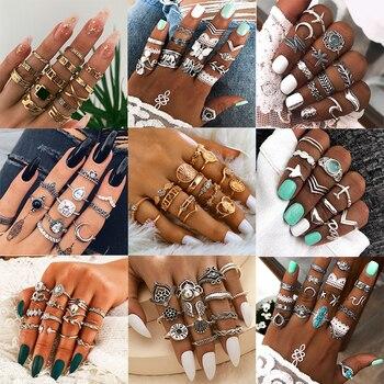 Anillo con forma de Luna para mujer, de moda 2020, estilo bohemio Vintage con gotas de agua, anillo con forma de Luna, anillo para dedo medio de cristal, regalos de joyería bohemios para mujer