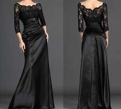 Черный 2019 платье-Русалка для невесты 3/4 рукава кружева плюс размер строгий костюм; для жениха Длинные платья матери для свадьбы