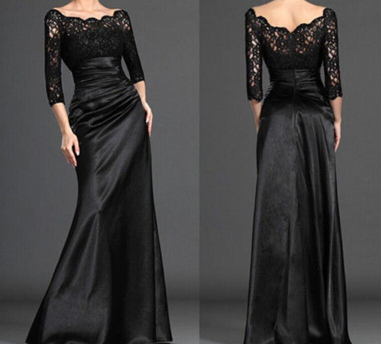 Black 2019 Mother Of The Bride Dresses Mermaid 3/4 Sleeves Lace Plus Size Formal Groom Long Mother Dresses For Wedding
