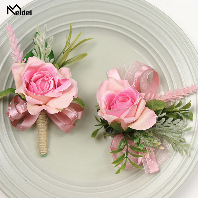 Meldel Boutonnieres For Groomsmen Bride Wrist Corsage Flowers Groom Boutonniere Artificial Rose Lavender Wedding Planner Brooch