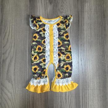 Baby girls summer romper infant baby romper girls sunflower romper baby lace romper wholesale фото