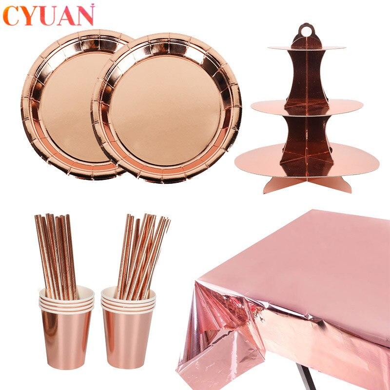 Festa de ouro rosa pratos de talheres descartáveis copo palhas bolo suporte adulto 30 aniversário casamento decoração galinha festa suprimentos