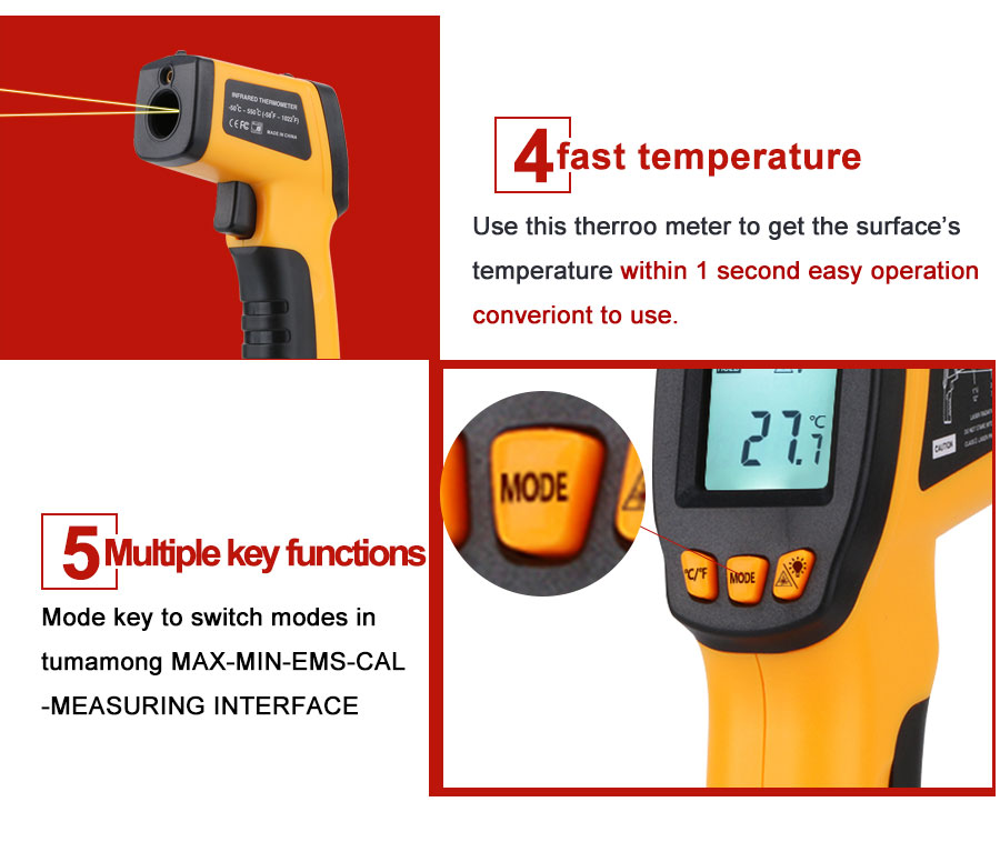 Hc7bb03186d1e4a2aa071744853e906fbj RZ IR Infrared Thermometer Thermal Imager Handheld Digital Electronic Outdoor Non-Contact Laser Pyrometer Point Gun Thermometer