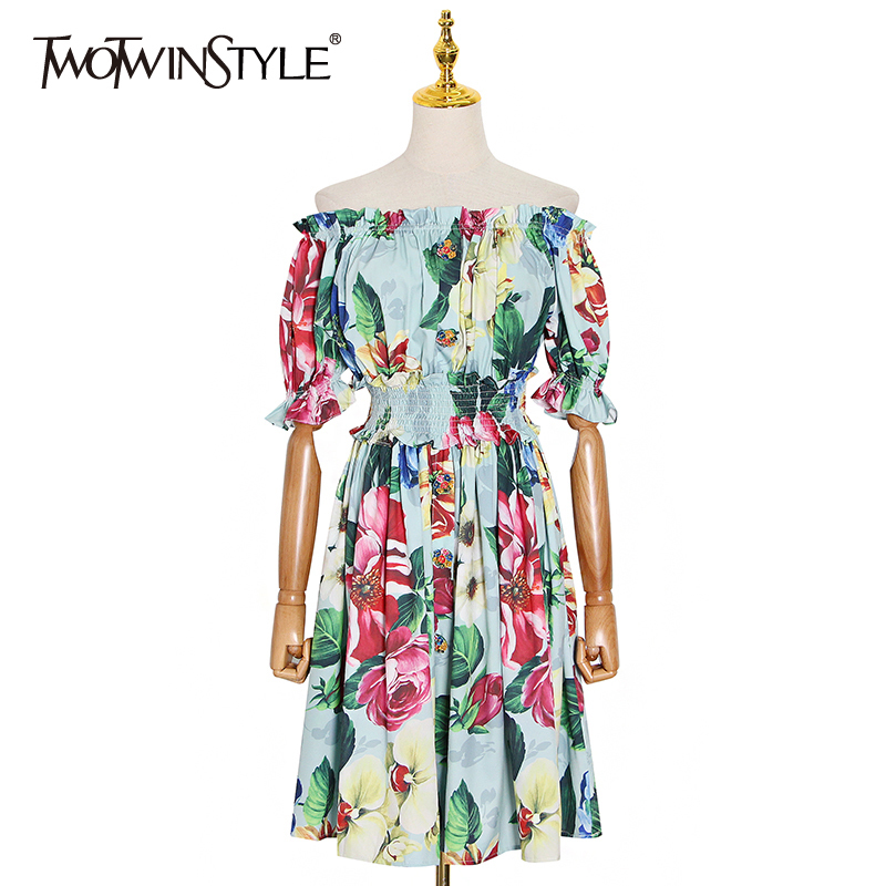 TWOTWINSTYLE Print Ruched Off Shoulder Dress For Women Square Collar High Waist Lantern Sleeve Hit Color Dresses Female 2020 New