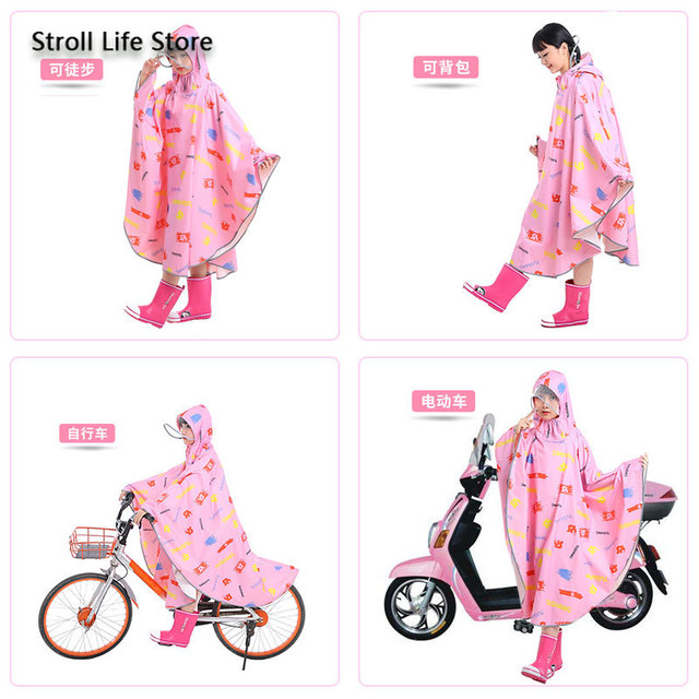 Pink Girl Rain Poncho Kids Raincoat Hiking Children Adult Long Rain Coat Jacket Bicycle Breathable Chest Waders Partner Gift 3