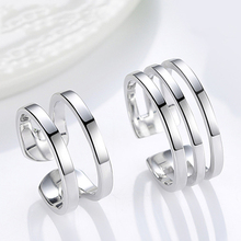 Genuine S925 sterling silver couple ring fashion personality European and American simple men and women opening adjustable ring s925 sterling silver classical minimalist ring jewelry men women fashion couple ring