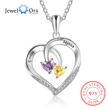 925 Sterling Silver Personalized Heart Necklace with 2 Birthstones Engraved Name Couple Necklace Silver Jewelry Gifts for Wife