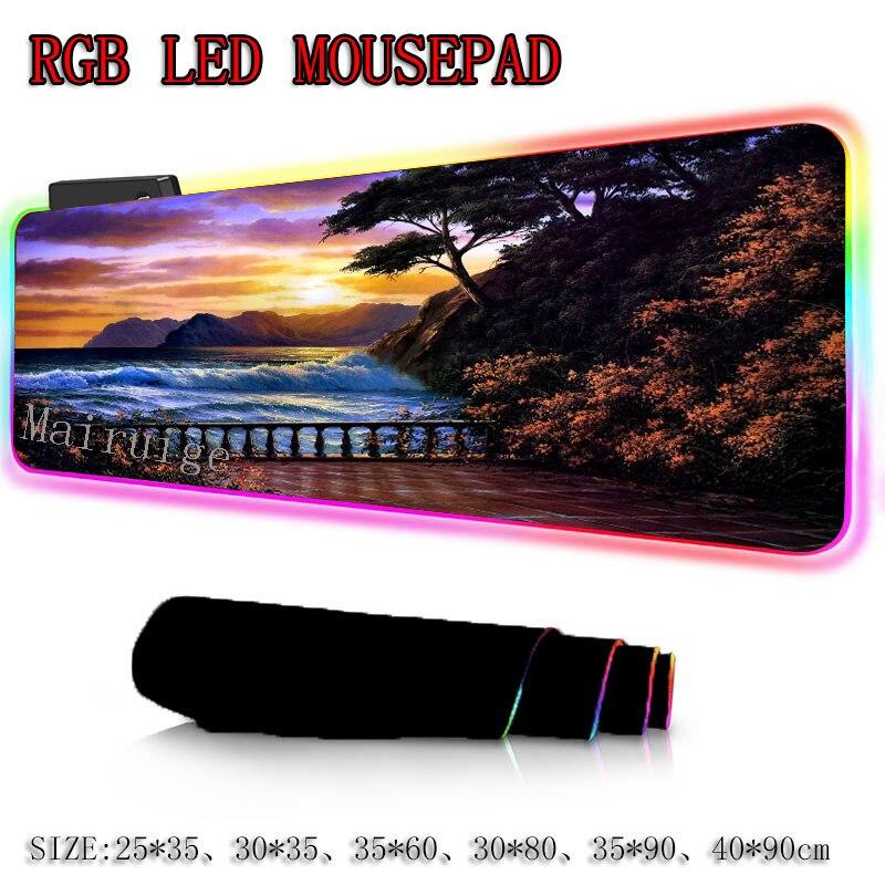 Купить большой игровой rgb коврик для мыши mairuige с красивым закатом