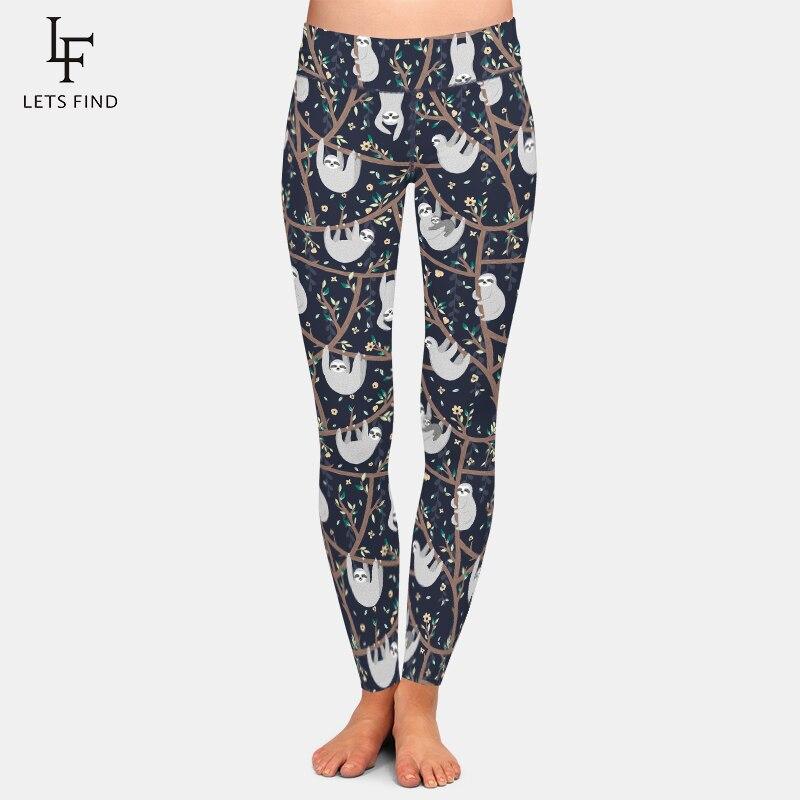 LETSFIND 2020 New Women Workout Leggings Fashion 3D Cute Sloth Print High Waist Fitness Elastic Soft Slim Leggings Plus Size