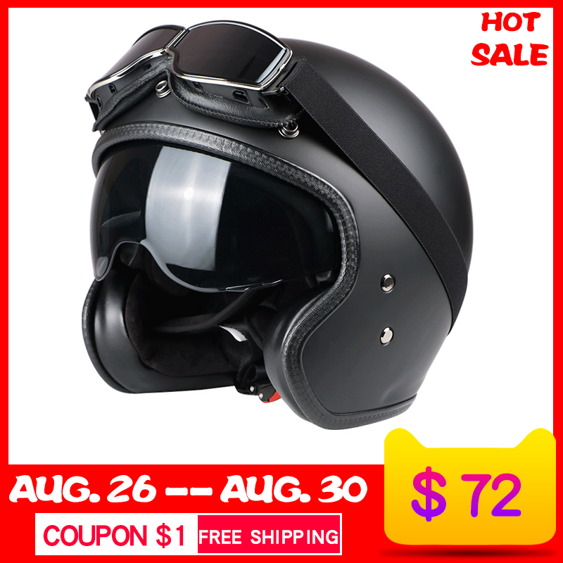 VECCHIO motorrad helm fiberglas vintage motorrad motocross 3/4 open GESICHT Retro Jet helm Roller schutz getriebe ECE