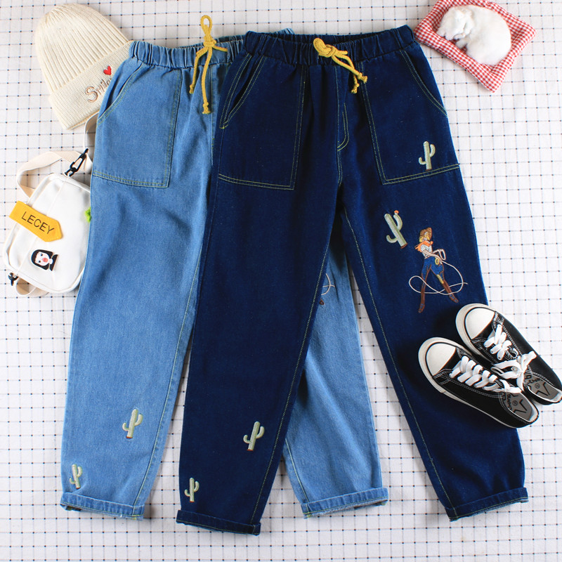 Mori Girl Cactus Embroidery High Waist Jeans Japanese Harajuku Style Student Harlan Casual Trousers Teen Girl Pants Preppy Style
