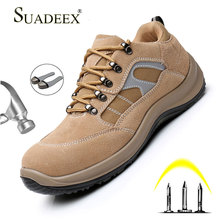 SUADEEX Men Anti-smashing Safety Shoes Puncture Proof Work Boot Construction Steel Toe Cap Protective Footwear