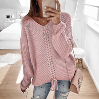 Sweater Women Autumn Winter Long Sleeve Lace up Sweater Elegant Sexy Neck Solid Knitwear Lady Fashion Streetwear Pullovers