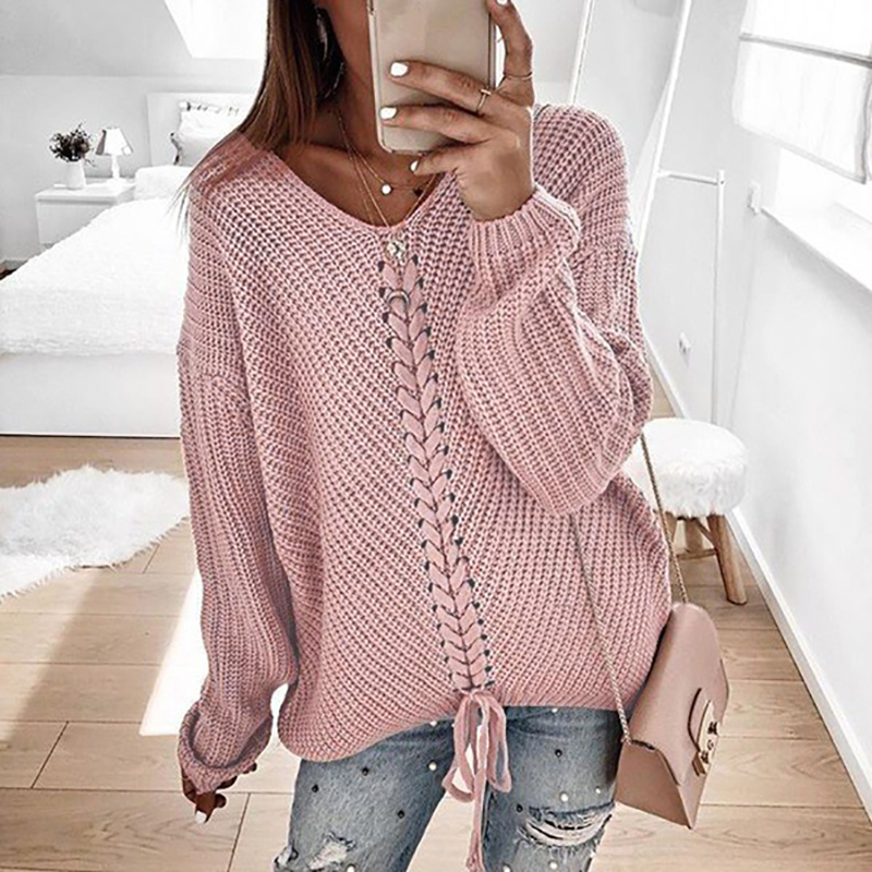 Sweater Women Autumn Winter Long Sleeve Lace-up Sweater Elegant Sexy Neck Solid Knitwear Lady Fashion Streetwear Pullovers