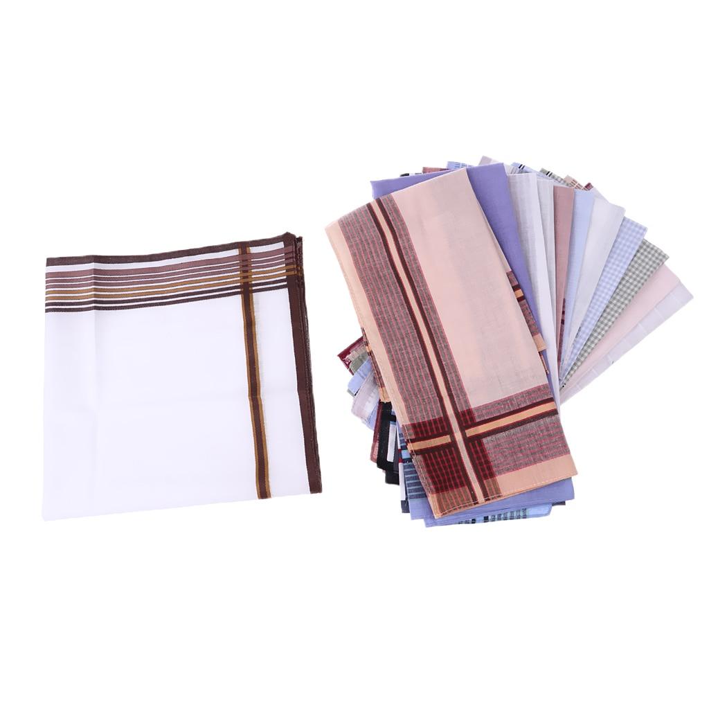 12 Pcs Men's Pocket Handerchief Square Hanky Grid Hankie 43x 43cm