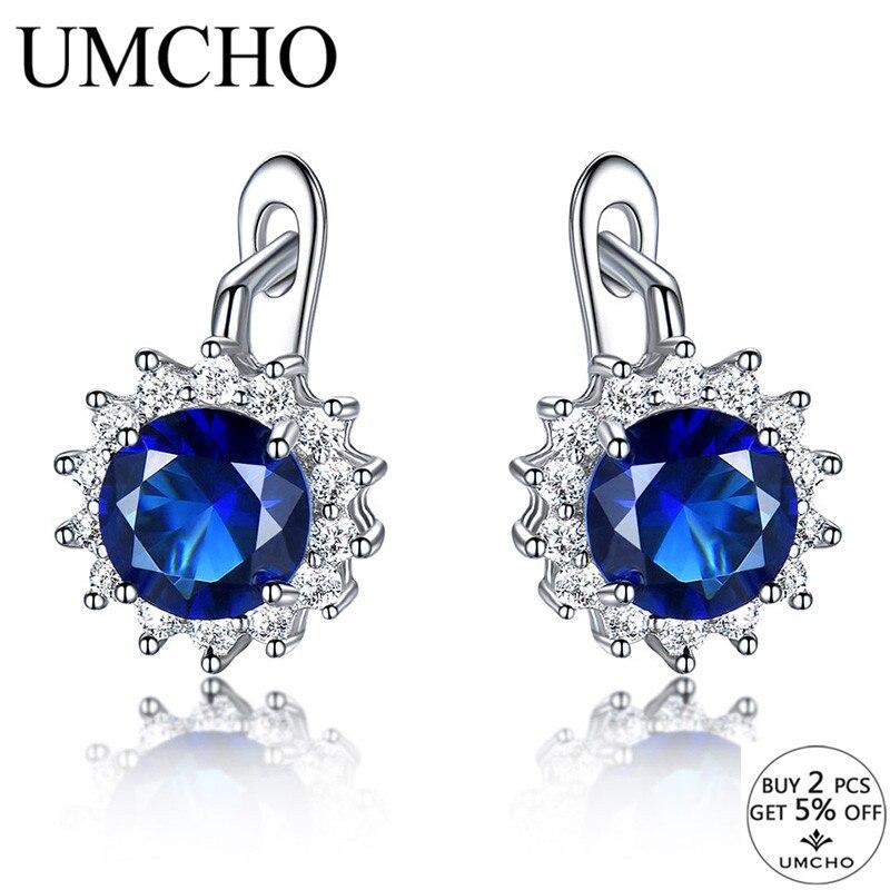 UMCHO Created Blue Nano Sapphire Unique Clip On Earrings 925 Sterling Silver Earrings For Women Elegant Statement Fine Jewelry