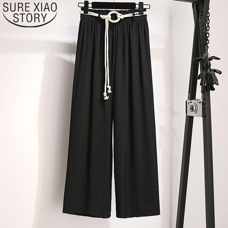 2019 Summer Fashion Women   Pants     Wide     Leg     Pants   Loose Women   Pants   High Waist   Pants   Casual Long Solid   Pants   4984 50