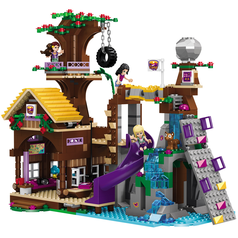Compatible with Legoinglys Friends <font><b>10497</b></font> Building Bricks Blocks Adventure Camp Tree House Emma Mia Figure Toy For Children image
