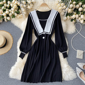 2020 New Style Dress knitted Sailor Collar Academic Long-Sleeved Nipped Waist Slim Pleated Student Temperament Mini Dress PL471